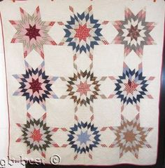 Americana c 1900 Touching Stars ANTIQUE Quilt Hearts Feathers FARMhouse