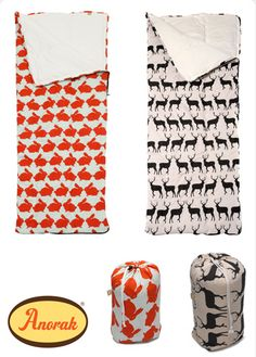 Fantastic stylish sleeping bags made by 'Anorak'. Material 100% printed cotton. Choice of 2 different designs Kissing Stags or Kissing rabbits. Filling hollow fibre. Machine washable. Made in the UK Open 75cm x 179cm Rolled 30cm x 30cm Weight 740g.  Price: £62.50