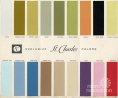 18 colors for St Charles steel kitchen cabinets is part of Vintage painting Colors - I show a brochure from the that shows 18 paint colors for vintage St Charles kitchen cabinets including avocado and harvest gold, of course 1960s Kitchen, Vintage Kitchen, Retro Kitchens, Prep Kitchen, Kitchen Pantry, Kitchen Ideas, Vintage China, Pyrex, Steel Kitchen Cabinets