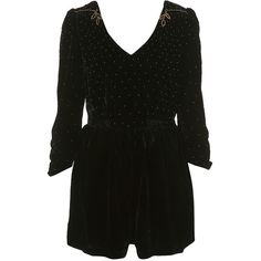 Velvet Studded Playsuit (495 BRL) ❤ liked on Polyvore featuring jumpsuits, rompers, dresses, playsuits, romper, black, collections, jubilee, view all and velvet romper