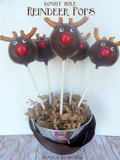 Donut Hole Reindeer Pops #christmas #reindeer