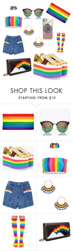 """Rainbow 🏳️‍🌈"" by capss ❤ liked on Polyvore featuring Boohoo, Gucci, Miguel Ases, Hollywood Mirror, Les Petits Joueurs, Casetify and pride"