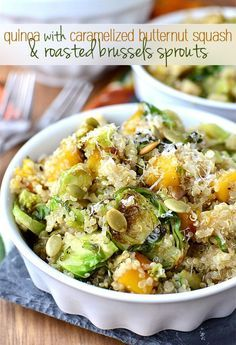 Quinoa with Caramelized Butternut Squash and Roasted Brussels Sprouts is a delicious vegetarian side dish!   iowagirleats.com