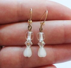 Vintage 14k Gold Filled and Clear Glass Dangle or Drop Earrings by paststore on Etsy
