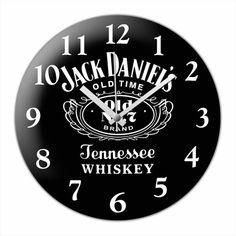Home Decor Modern Cambered Glass Wall Clock Jack Daniels Design
