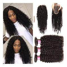 JieFar Brazilian Curly Virgin Hair with Closure Unprocessed Virgin Human Hair Weave 4 Bundles 4x4Inch Natural Color 12121414 -- Continue to the product at the image link.
