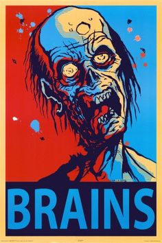 Brains Zombie Poster 24x36 Horror Poster Print, 24x36 Poster Print, 24x36 $3.00