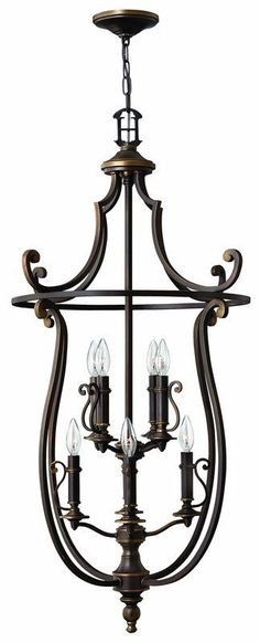 Hinkley Lighting 4258OB Olde Bronze 8 Light Indoor Lantern Pendant from the Plymouth Collection - LightingDirect.com