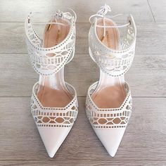 Dream wedding shoes alert! Cool brides will love these intricate laser cut beauties.