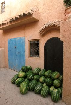 Watermelons on the door, Chefchaouen, Morocco
