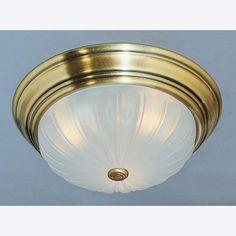 Three Light Antique Brass Melon Glass Bowl Flush Mount : 40FD | Bright Light Design Center