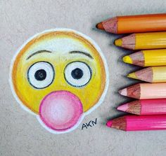 Emoji s Drawing # Emoji Drawings, Easy Drawings, Pencil Drawings, Social Media Art, Dibujos Cute, Pencil Art, Doodle Art, Art Inspo, Art Sketches
