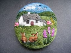 Handmade needle felted brooch/Gift 'The Morning Visitors' by Tracey Dunn