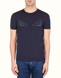 FENDI T-SHIRT - Blue cotton T-shirt with inlays