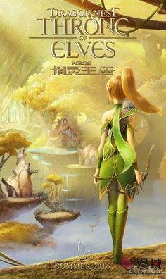 """""""Dragon Nest: Throne of Elves"""" is a new movie. The poster shows Liya, the archer. She looks forward to fulfill her Telezia."""