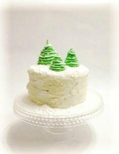Новогодний торт с зелеными елками. Мастер класс