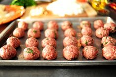 Meatballs by Ree Drummond / The Pioneer Woman - meatballs are yummy! Just keep adjusting to taste as you cook Meatball Recipes, Beef Recipes, Italian Recipes, Cooking Recipes, Recipies, Italian Foods, Cooking Bacon, Meatloaf Recipes, Pioneer Woman Meatballs