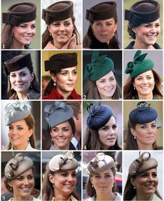 Part three of Kate's repeated headpieces: 1: Kate's most worn hat is her Lock & Co 'Betty Boop' hat, worn in 2012 to St Patrick's Day, 2013 to the Cheltenham Races and to a friend's wedding in Switzerland. Then in 2014 to St Patrick's Day and Christmas Day and earlier this year to the RAF base. 2: Kate's green Gina Foster hat has been worn twice: firstly on Christmas Day 2013 and secondly to St Patrick's Day in 2014. 3: This grey Jane Taylor piece was worn to an Easter service in Australia…