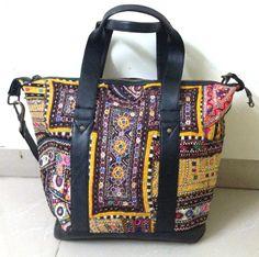 Leather Banjara Bag Indian Gypsy Vintage Banjara multi color mirror work embroidery Tote Handmade large bag traveller bag on Etsy, US$179.00