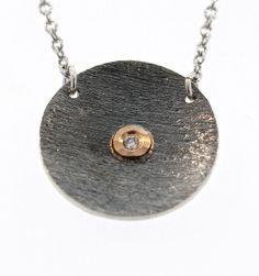 David Tishbi Black Disc Necklace - 17MM Oxidized Sterling Silver with White Diamonds in 14K Bezel Black Disc Necklace