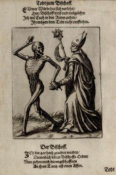 G9 - L'Evêque. Danse macabre du couvent des dominicains de Bâle (Suisse) (v. 1440). Gravure de Matthaeus Merian (1621).