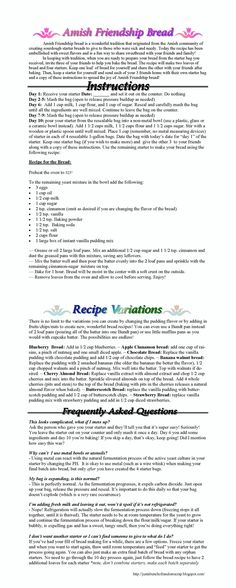 Amish Friendship Bread Instructions and Recipe. How to make Friendship bread with recipe variations and FAQ