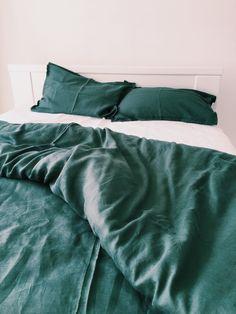 EMERALD Natural Linen Duvet Cover + 2 pillow cases. Ready to ship (US Queen Size)