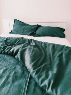 EMERALD Natural Linen Duvet Cover + 2 pillow cases. Ready to ship (US Queen Size)