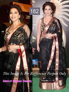 MADHURI MACAW BEAUTY IN NET BLACK SAREE WITH ROW SILK BLOUSE