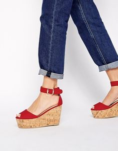 fca8bef82a1 London Rebel Red Cork Wedge Sandals Womens Boots On Sale
