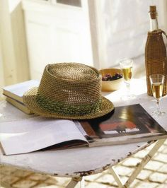 Girls Crochet Summer Straw Cowboy Hat <3
