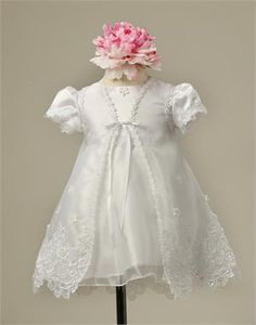 Princess Satin and Taffeta Baptism Dress with Sequined Embroidered Organza Cape | eFavorMart