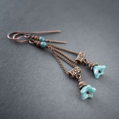 SALE • Boho Earrings • Blue Flower Bells Dangling • Copper Chain • Light • Ethnic Jewelry • Nature • Turquoise • Festive • Artisan Jewlery by entre2et7 on Etsy