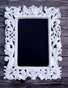 framed chalkboard..love the black against white!