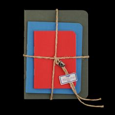 UNIONMADE - GIFTSHOP - Set of 3 Books with Twine in Red Light Blue and Green