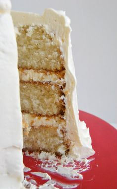 White cake with amaretto frosting