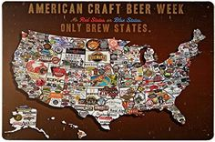Buy ERLOOD Tin Signs Vintage Wall Retro Metal Bar Pub Poster American Craft Beer Week - Topvintagestyle.com ✓ FREE DELIVERY possible on eligible purchases