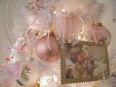 Pretty pink Victorian Christmas ornaments.