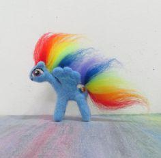 Handmade Needle Felted Rainbow Dash by CuriositycreatedKat on Etsy. Dat hair!