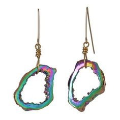 Sasha Earrings by Gemma Redux from @Boticca. $130 #madeinUSA #boticca        Zoom  Story of the pieceShippingReturn policy  Agate Slice Brass Casting, Rainbow PVD Plating.    Ask a question  Style Tips & Comments        Gemma Redux
