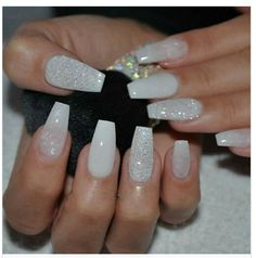 White Nail Designs With Rhinestones Semirecogido - white pearl with diamond tapered square tip long nails acrylic nail Sparkly Acrylic Nails, Acrylic Nails Coffin Short, Square Acrylic Nails, Best Acrylic Nails, White Sparkly Nails, Coffin Nails, White Toenails, Silver Nail, Trendy Nails