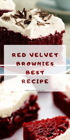 Red Velvet Brownies Recipe is the best because of it's perfect combination of moist and bright red color. In addition the cream cheese frosting is used for the perfect topping. Brownie Desserts, Brownie Recipes, Chocolate Desserts, Easy Desserts, Delicious Desserts, Yummy Food, Dessert Recipes, Italian Desserts, Cupcake Recipes