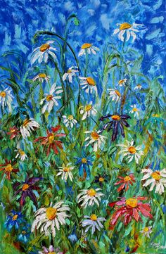 Original oil painting Wild Daisies palette knife by Karensfineart