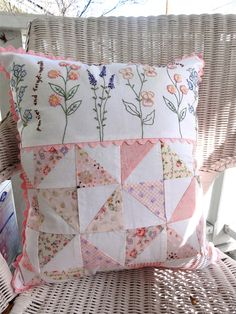 Pillow, Cottage Style, French Country, Bedroom, Sun porch, Embroidery. $28.00, via Etsy.