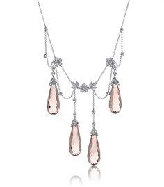 Tiffany♥.•:*´¨`*:•♥Morganite briolette swag necklace with diamonds set in platinum.