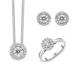 18ct White Gold Diamond Three Piece Gift Set, BLC-228 At C W Sellors, we have an expert team of diamond specialists who handpick and grade each jewel to meet our high standards and a team oftalented in house designers who combine their talents tobring you our exclusive Diamond collection. Chosen for their rare white quality, eachdiamond we use has a minimum clarity of VS and minimum colour of G-H. This beautiful gift set comprises: Pendant: Diamond Round Brilliant 0.43cts, sold complete… Jewelry Gifts, Jewellery, Christmas Gift Sets, High Standards, Rose Gold Jewelry, Jewelry Packaging, White Gold Diamonds, Gold Chains, Natural Gemstones