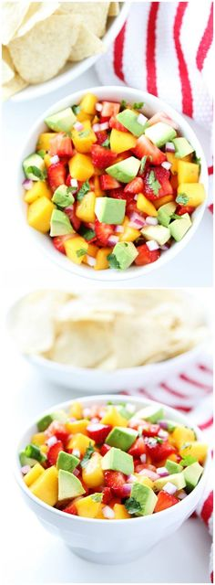 Strawberry Mango Salsa Recipe on twopeasandtheirpod.com Love this simple and fresh salsa!