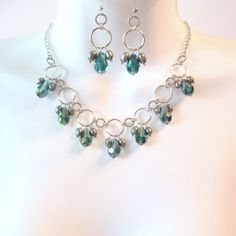 Crystal Teardrop Bib Necklace Set  Teal Emerald by TheWireRose, $42.50