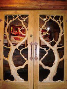 carved wood door