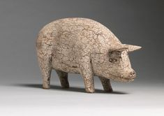 Standing Pig - Carved Wood with Historic Painted Surface European, c.1920